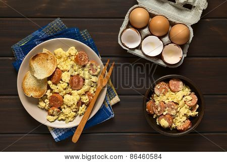 Scrambled Egg with Chorizo and Onion