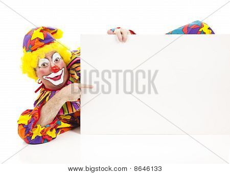 Reclining Clown With Sign