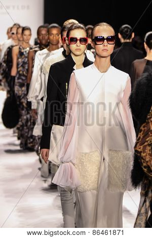 NEW YORK - FEBRUARY 12: A model walks the runway at the Thomas Wylde Fall/Winter 2015 collection during Mercedes-Benz Fashion Week in New York on February 12, 2015.