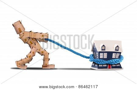 Box Character Pulling A House With A Rope