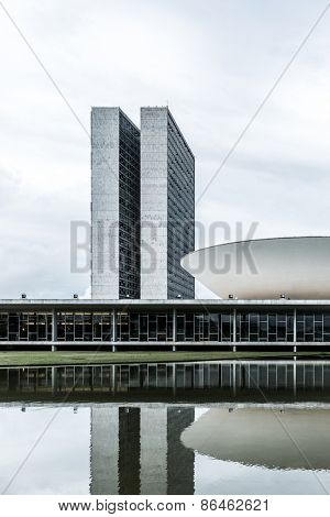 BRASILIA, BRAZIL - CIRCA MARCH 2015: Brazilian National Congress in Brasilia, Brazil.
