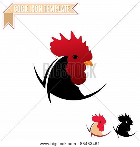 Cock Label, Trade Sign, Icon Template