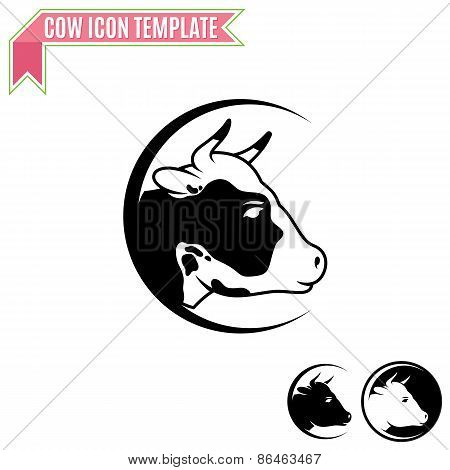 Cow Label, Trade Sign, Icon Template
