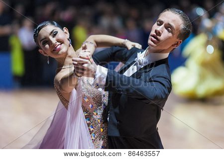 Minsk, Belarus-february 14, 2015: Professional Dance Couple Of Korchmar Kirill And Ankul Anna From R