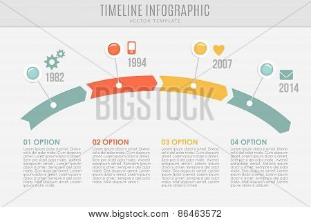 Poster Of Timeline Report Template With Ons And Icons Vector