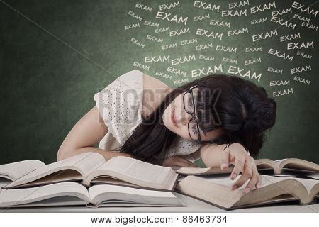 Exhausted Student Prepare Exam