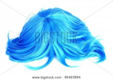 a long-haired blue wig on a white background
