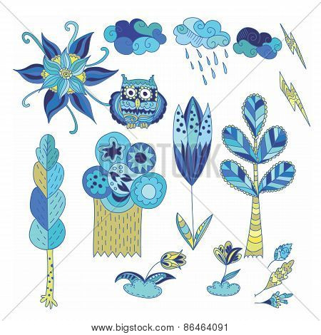 Spring Doodle Vector Design Elements Set