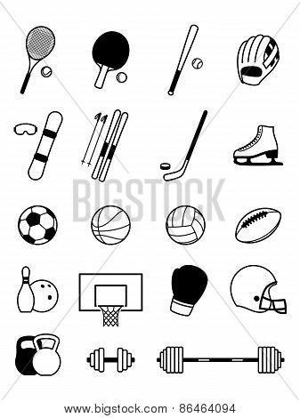 Sport Equipment Icons Isolated on White