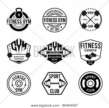 Black and White Gym and Fitness Labels