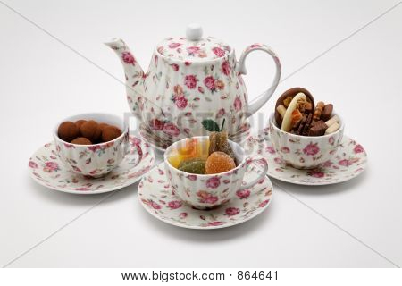 Afternoon tea with candy and chocolates