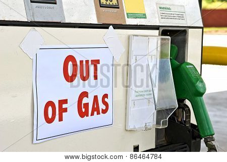 Gasoline Pump With Out Of Gas Sign