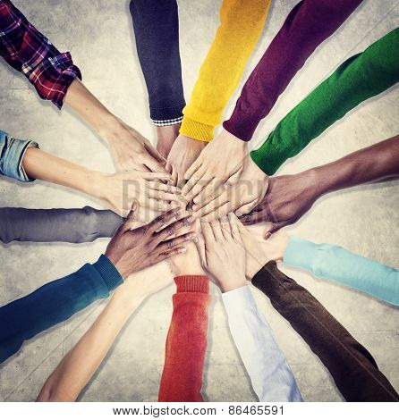 Group of Human Hands Holding Together