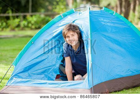 Portrait of happy boy sitting inside tent at park