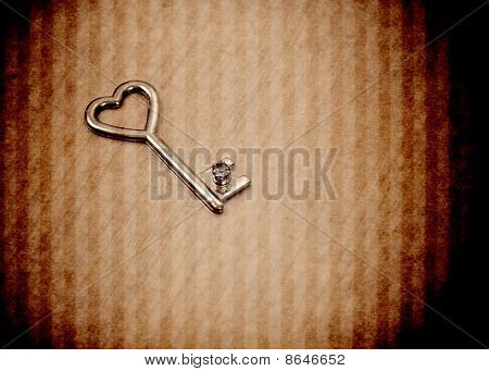 Heart Key In Abstract Grunge Background