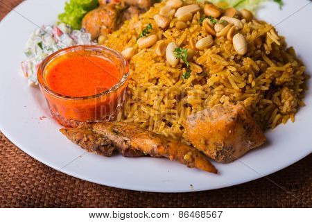 Eastern food. Arab food. Pilaf with meat.