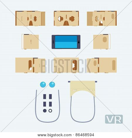 Parts of the cardboard virtual reality headset