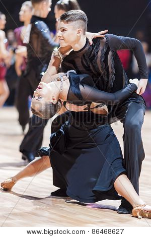 Minsk, Belarus-february 14,2015: Professional Dance Couple Of Shmidt Danila And Alina Gumenyuk