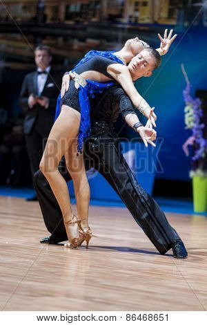Minsk, Belarus-february 14,2015: Professional Dance Couple Of Tchernetzov Danila And Kushner Dariya
