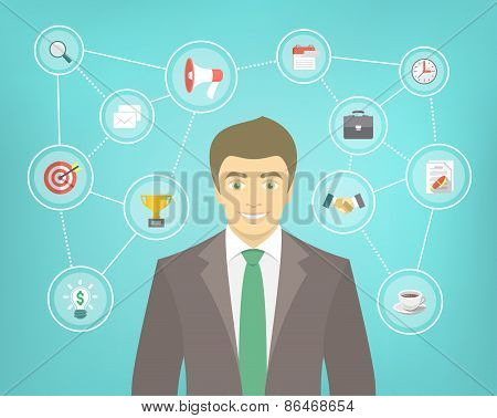 Modern Businessman Conceptual Infographics