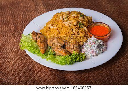 Eastern food. Arab food. Pilaf with meat.