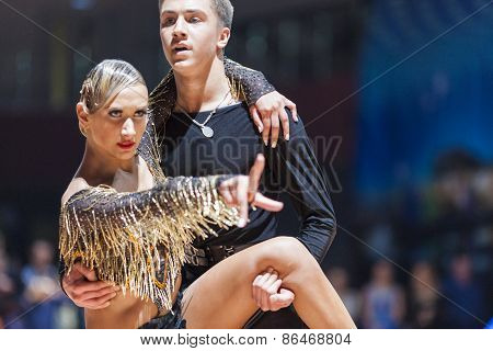 Minsk, Belarus-february 14,2015: Unidentified Professional Dance Couple Performs Youth-2 Program