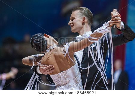Minsk, Belarus-february 14, 2015: Professional Dance Couple Of Artsem Kazyra And Anastasiya Veslova