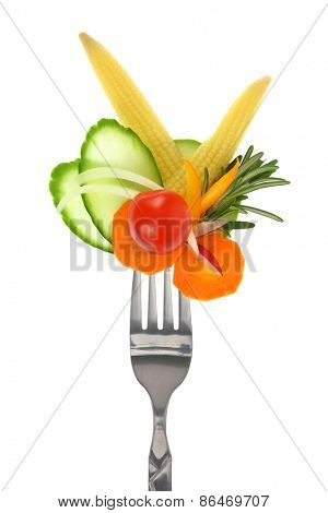 Fresh colorful vegetables on fork, isolated on white