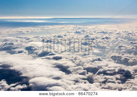 Wide cloud landscape aerial view from a plane