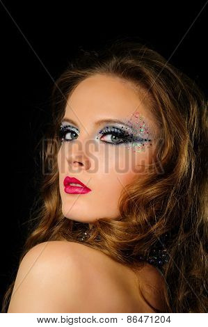 Portrait Of Beautiful Girl With Bright Fashion Art Makeup