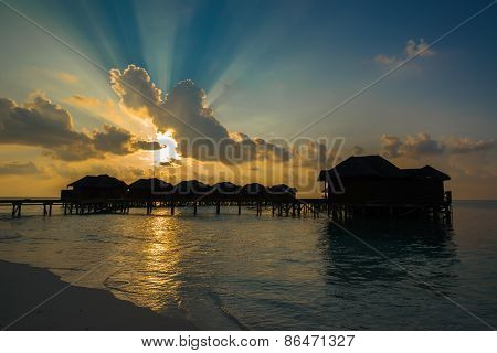 Landscape of Tropical Sand Beach and Indian Ocean at Sunset, Maldives