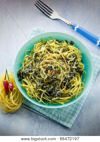 tagliolini with turnip top and hot chili pepper