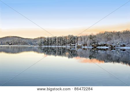 Beautiful Morning on Lake in Winter