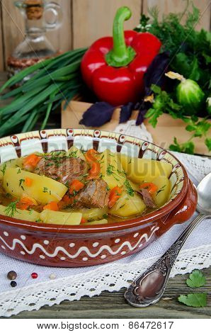 Meat Stew With Potatoes And Vegetables