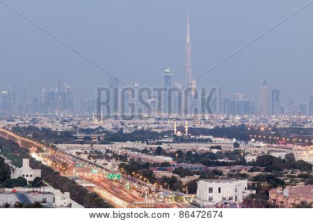 Skyline Of Dubai At Dusk
