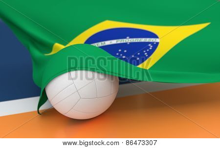 Flag Of Brazil With Championship Volleyball Ball