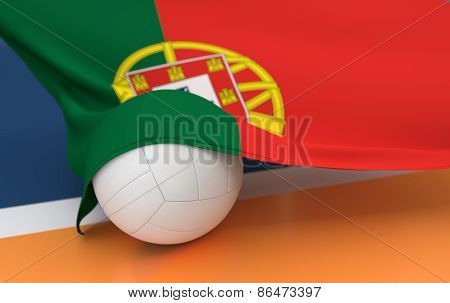 Flag Of Portugal With Championship Volleyball Ball