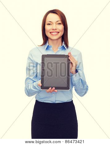 business, internet, advertisement and technology concept - smiling woman with black blank tablet pc computer screen