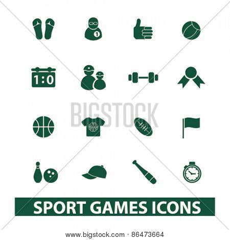 sport, games, fitness gym icons, signs, illustrations set, vector