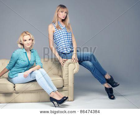 Fashion Photo Of Two Blonde Woman.