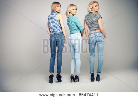 Fashion Photo Of Three Blonde Woman.