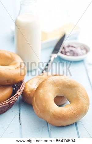 the tasty bagels on kitchen table