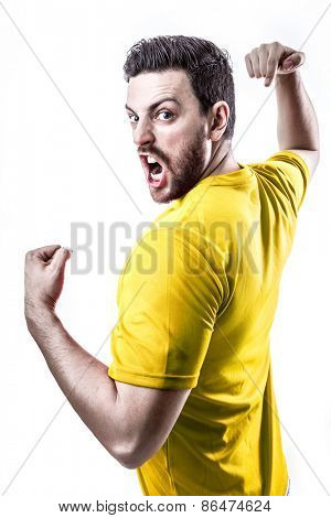 Professional player on yellow uniform celebrating on white