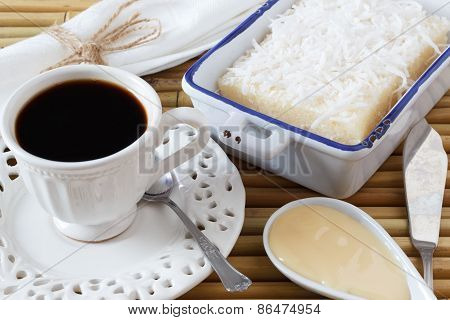 Sweet Couscous Pudding , Coconut, Cup Of Coffee, Condensed Milk