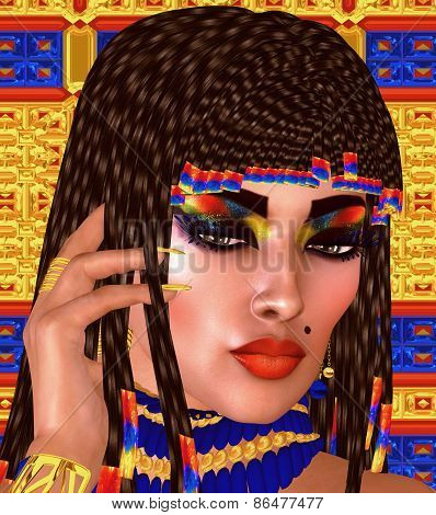 Cleopatra or any Egyptian Woman Pharaoh, Modern digital art fantasy.