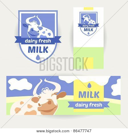 A set of promotional items for dairy products. Logo, banner, the