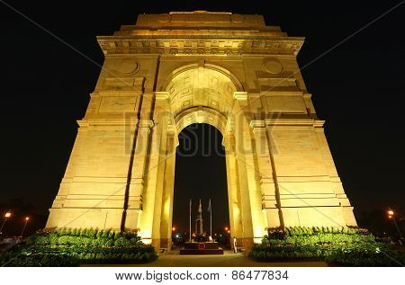 India Gate With Lights At Night, New Delhi, India