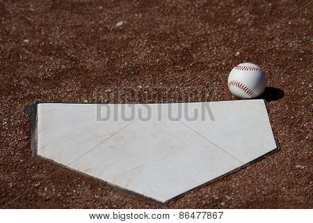 Fair Ball A White Baseball In Front Of Homeplate