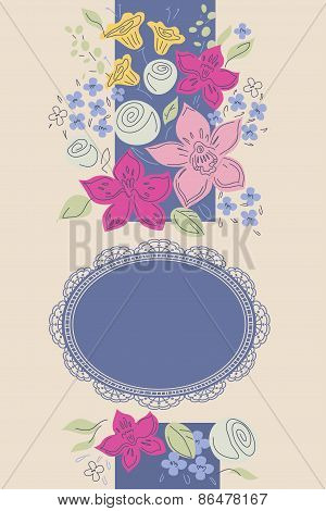 Vector background with flowers orchids, roses and oval frame for