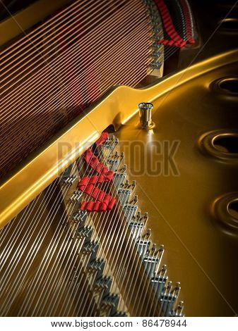 interior of a concert grand piano - shallow depth of field